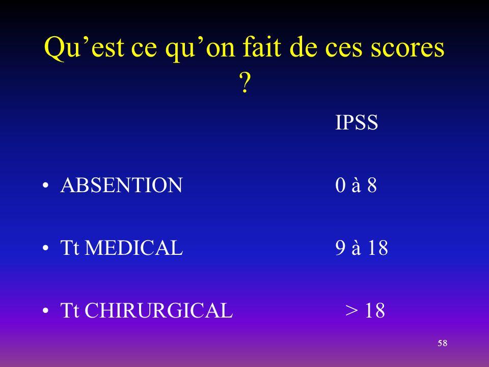 58 Quest ce quon fait de ces scores ? IPSS ABSENTION0 à 8 Tt MEDICAL9 à 18 Tt CHIRURGICAL > 18