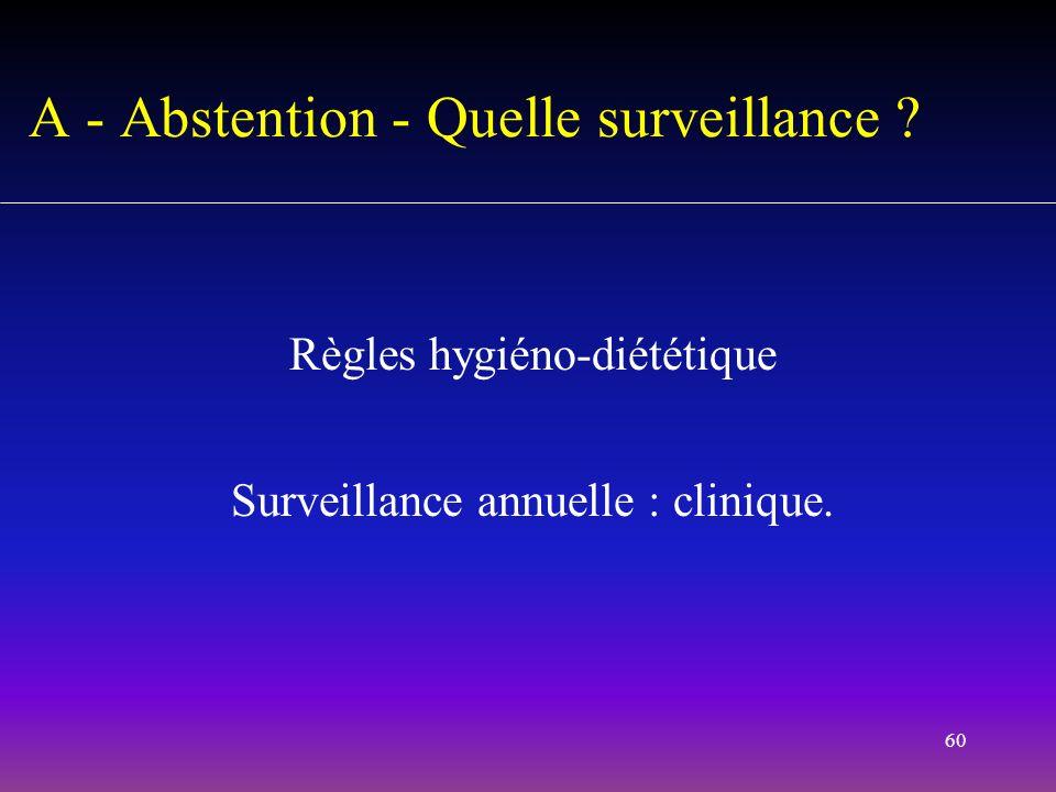 60 Règles hygiéno-diététique Surveillance annuelle : clinique. A - Abstention - Quelle surveillance ?