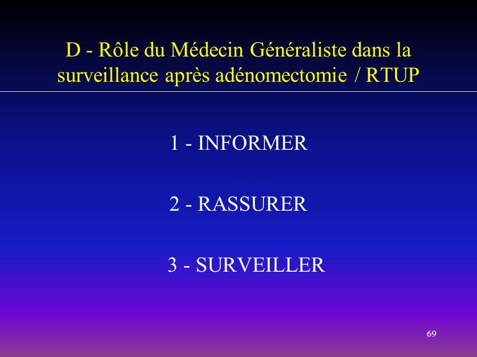 69 D - Rôle du Médecin Généraliste dans la surveillance après adénomectomie / RTUP 1 - INFORMER 2 - RASSURER 3 - SURVEILLER