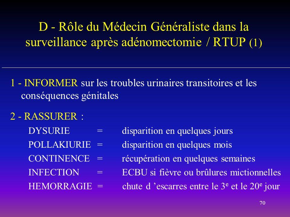 70 D - Rôle du Médecin Généraliste dans la surveillance après adénomectomie / RTUP (1) 1 - INFORMER sur les troubles urinaires transitoires et les con