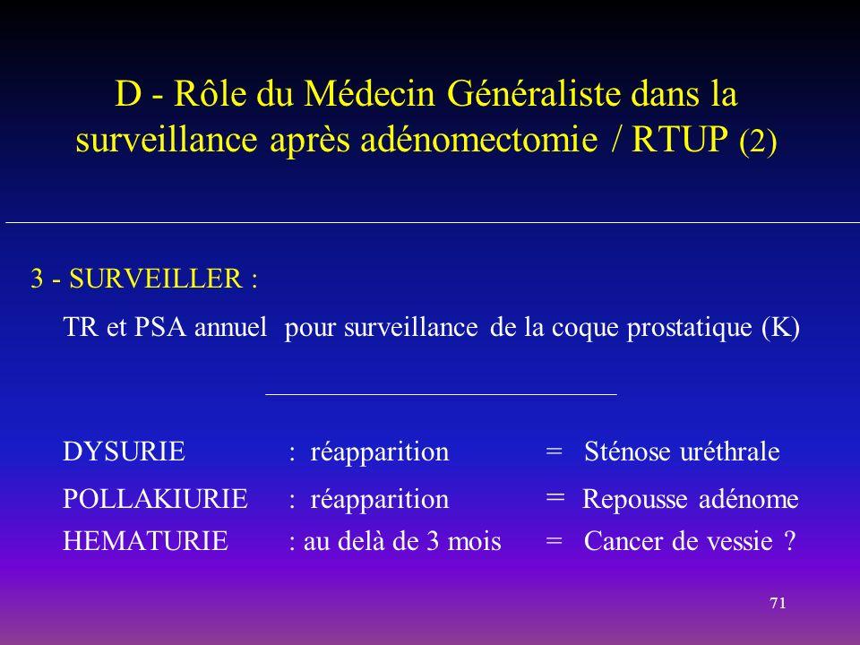 71 D - Rôle du Médecin Généraliste dans la surveillance après adénomectomie / RTUP (2) 3 - SURVEILLER : TR et PSA annuel pour surveillance de la coque