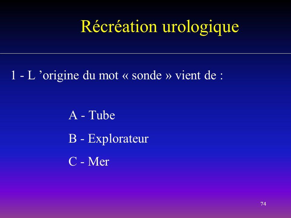 74 Récréation urologique 1 - L origine du mot « sonde » vient de : A - Tube B - Explorateur C - Mer