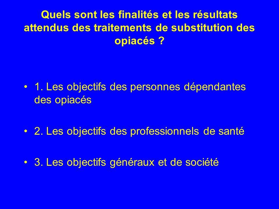 Quels sont les finalités et les résultats attendus des traitements de substitution des opiacés ? 1. Les objectifs des personnes dépendantes des opiacé