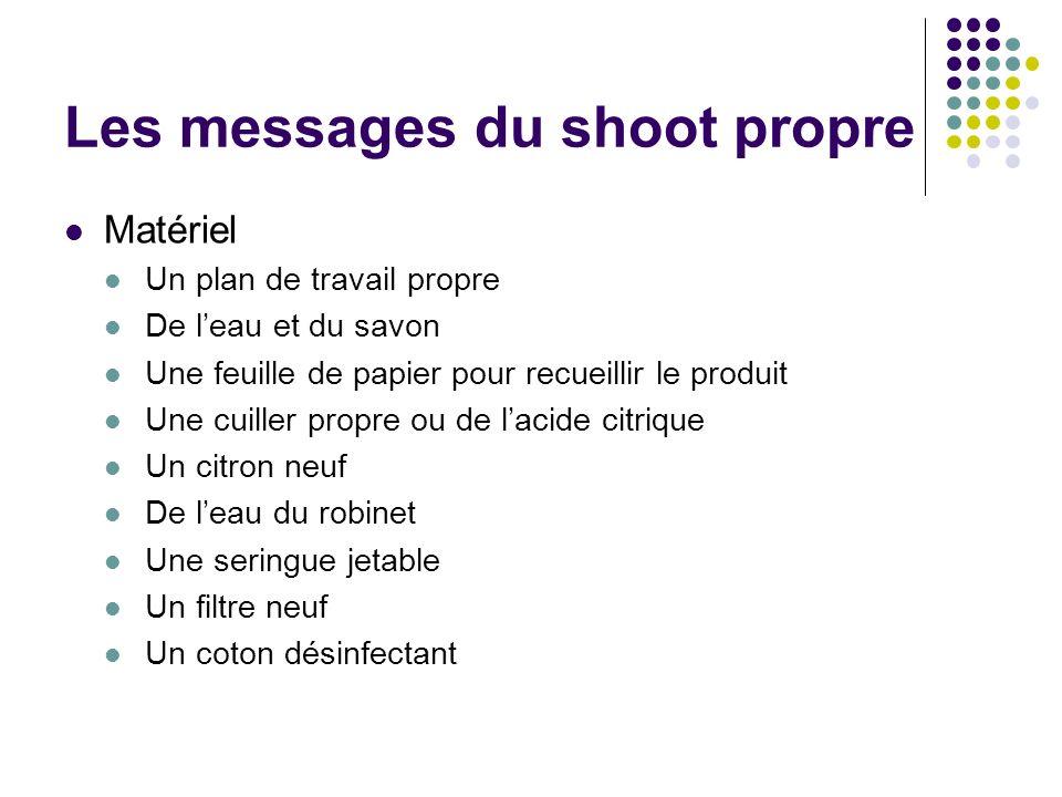 Les messages du shoot propre Matériel Un plan de travail propre De leau et du savon Une feuille de papier pour recueillir le produit Une cuiller propr