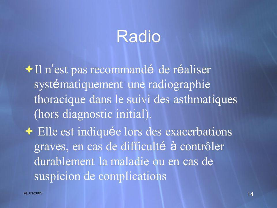 AE 01/2005 14 Radio Il n est pas recommand é de r é aliser syst é matiquement une radiographie thoracique dans le suivi des asthmatiques (hors diagnos