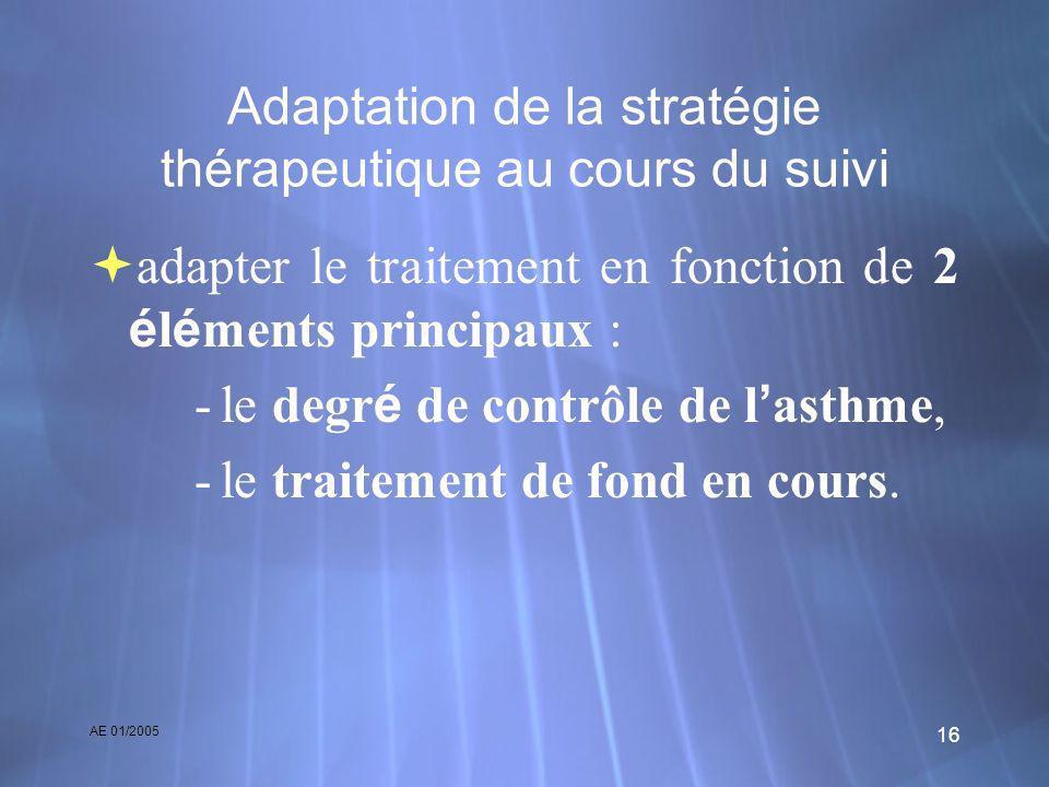 AE 01/2005 16 Adaptation de la stratégie thérapeutique au cours du suivi adapter le traitement en fonction de 2 é l é ments principaux : -le degr é de
