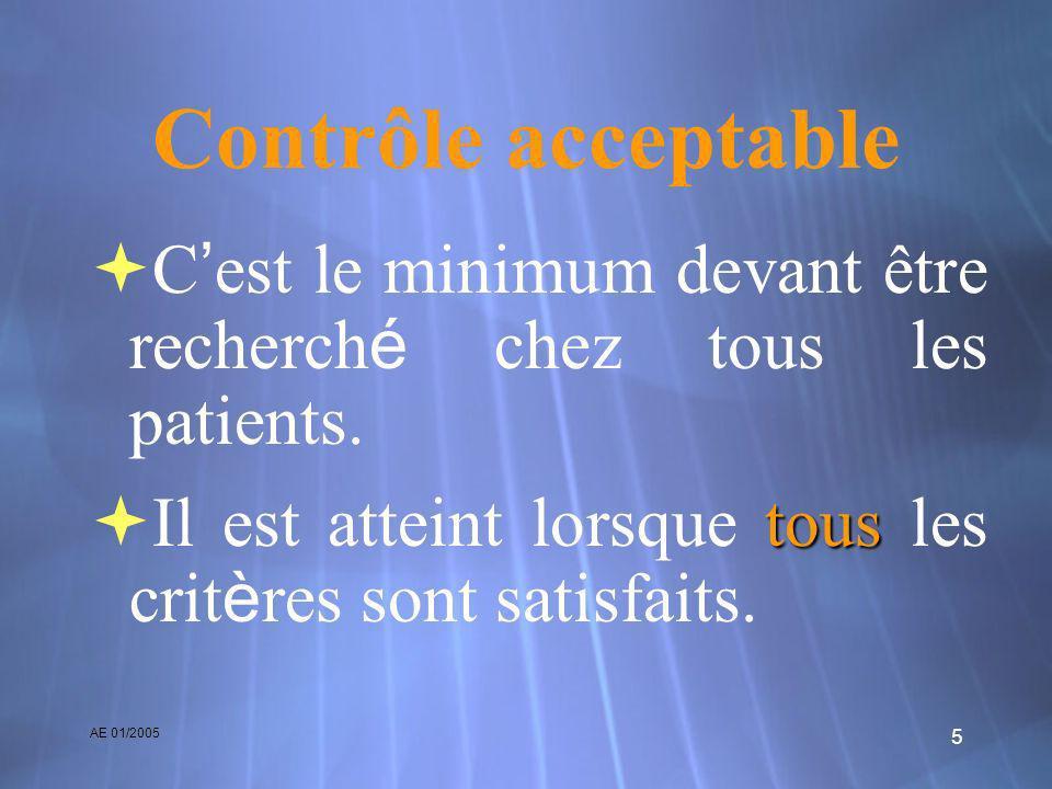 AE 01/2005 5 Contrôle acceptable C est le minimum devant être recherch é chez tous les patients. tous Il est atteint lorsque tous les crit è res sont