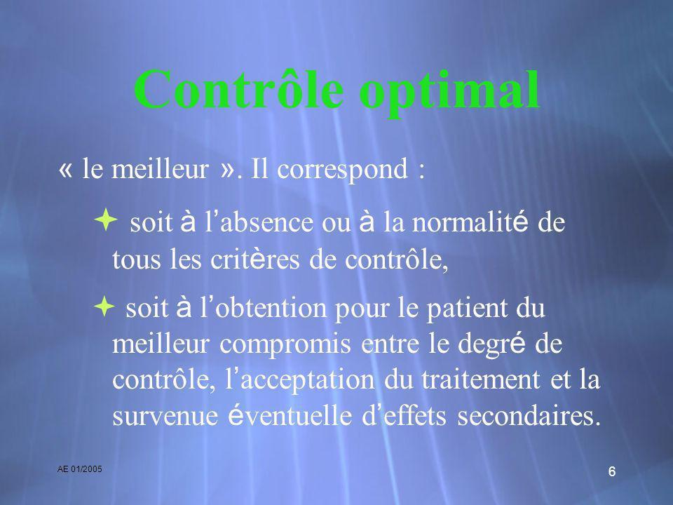 AE 01/2005 6 Contrôle optimal « le meilleur ». Il correspond : soit à l absence ou à la normalit é de tous les crit è res de contrôle, soit à l obtent