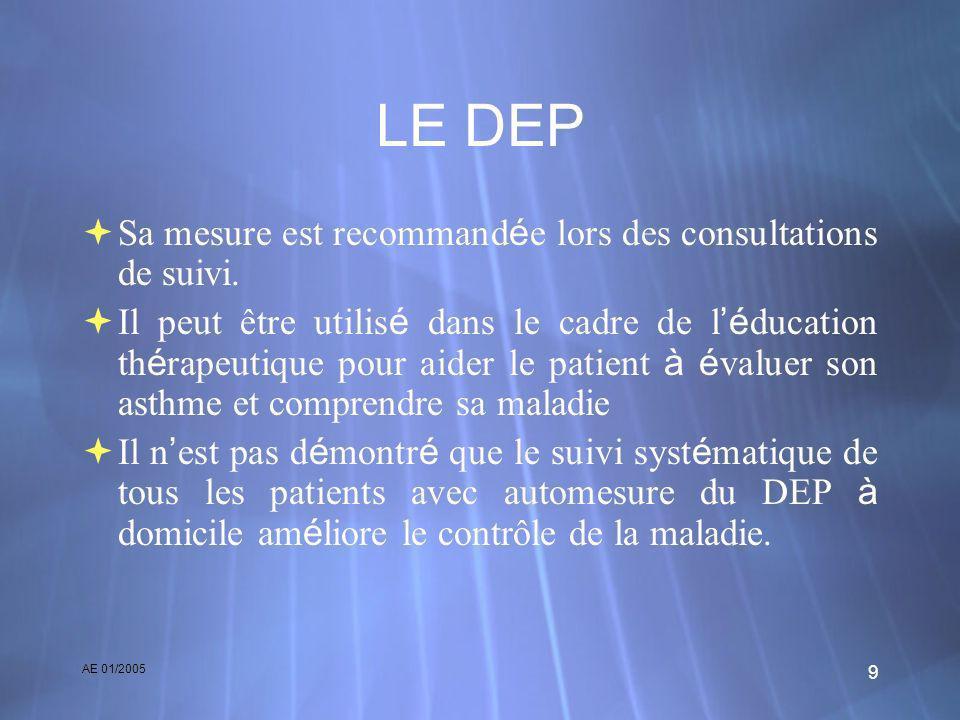 AE 01/2005 9 LE DEP Sa mesure est recommand é e lors des consultations de suivi. Il peut être utilis é dans le cadre de l é ducation th é rapeutique p