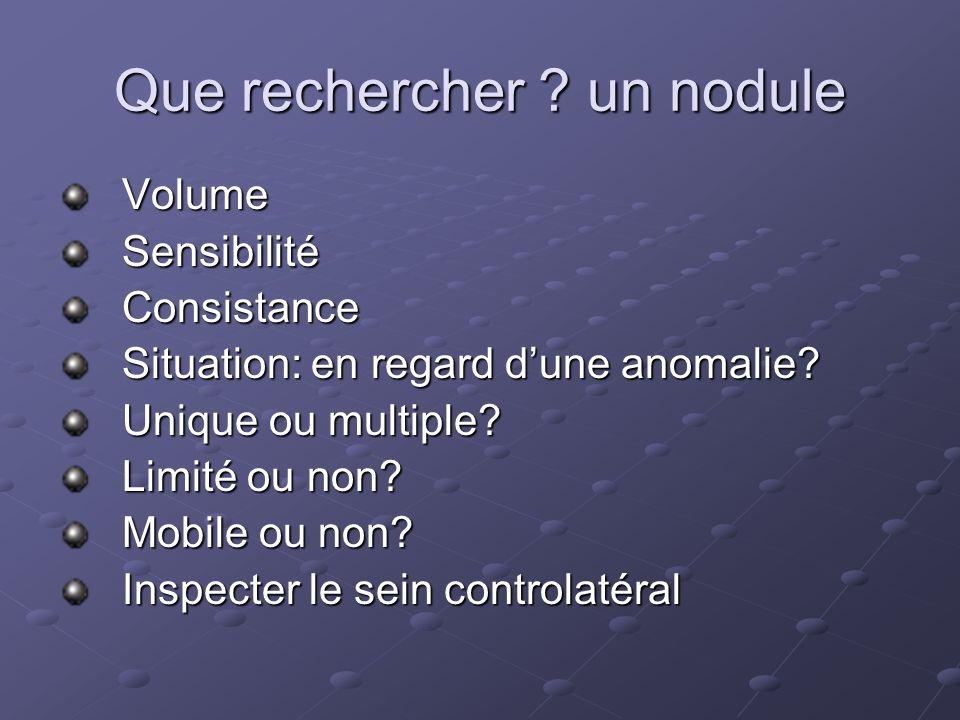 Que rechercher .un nodule VolumeSensibilitéConsistance Situation: en regard dune anomalie.