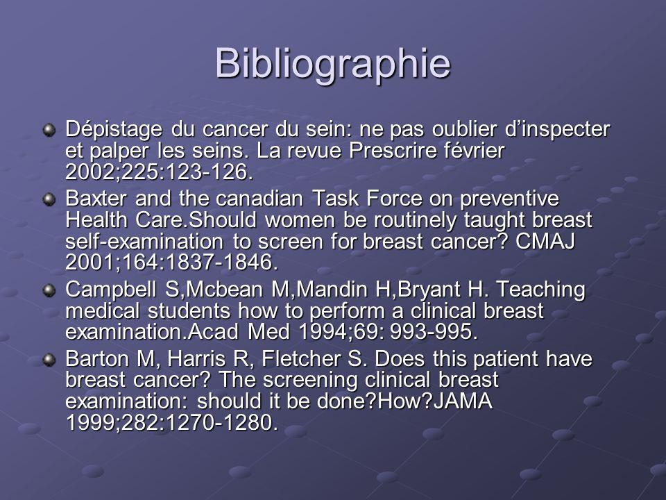 Bibliographie Dépistage du cancer du sein: ne pas oublier dinspecter et palper les seins.