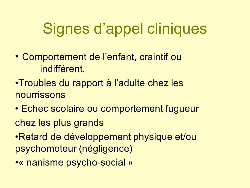 Signes dappel cliniques Comportement de lenfant, craintif ou indifférent. Troubles du rapport à ladulte chez les nourrissons Echec scolaire ou comport