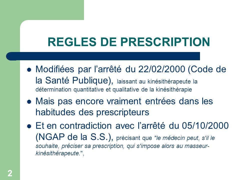 2 REGLES DE PRESCRIPTION Modifiées par larrêté du 22/02/2000 (Code de la Santé Publique), laissant au kinésithérapeute la détermination quantitative e