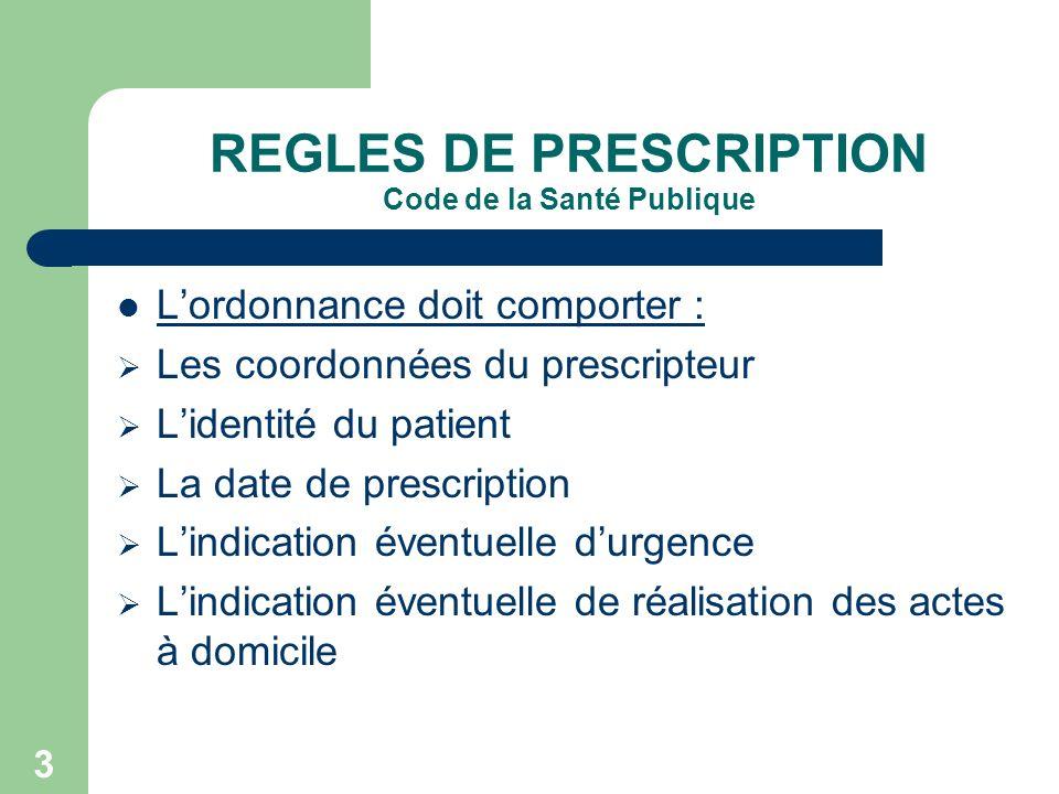 3 REGLES DE PRESCRIPTION Code de la Santé Publique Lordonnance doit comporter : Les coordonnées du prescripteur Lidentité du patient La date de prescr