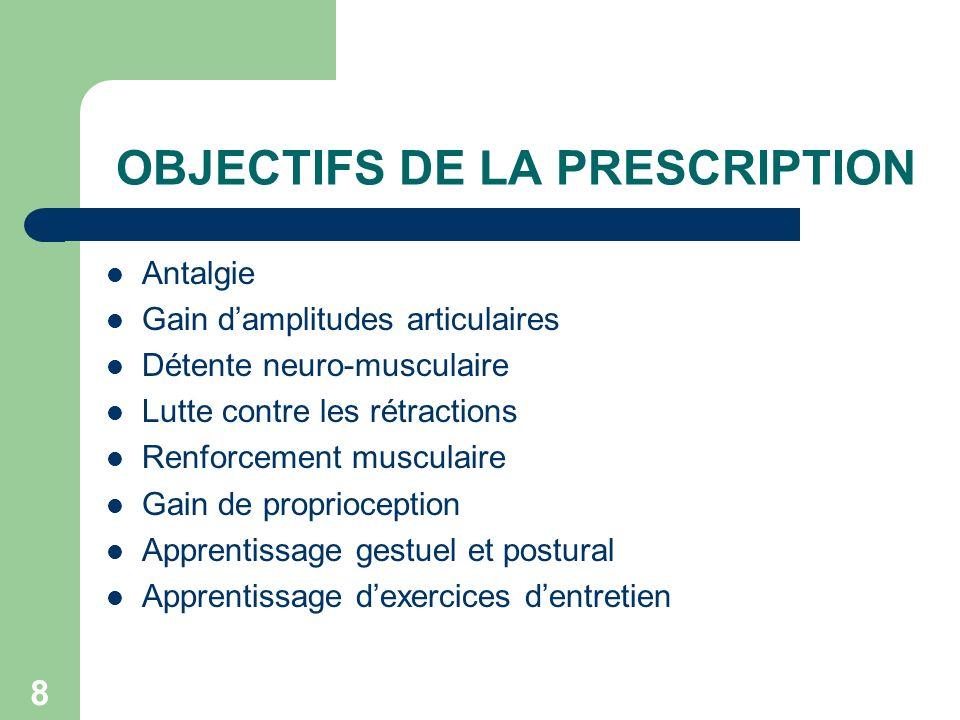 8 OBJECTIFS DE LA PRESCRIPTION Antalgie Gain damplitudes articulaires Détente neuro-musculaire Lutte contre les rétractions Renforcement musculaire Ga