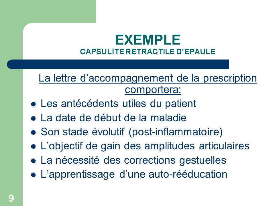 9 EXEMPLE CAPSULITE RETRACTILE DEPAULE La lettre daccompagnement de la prescription comportera: Les antécédents utiles du patient La date de début de