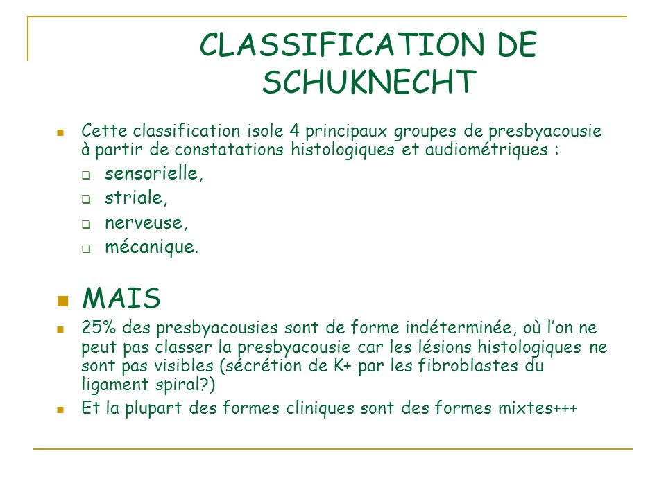 CLASSIFICATION DE SCHUKNECHT Cette classification isole 4 principaux groupes de presbyacousie à partir de constatations histologiques et audiométrique