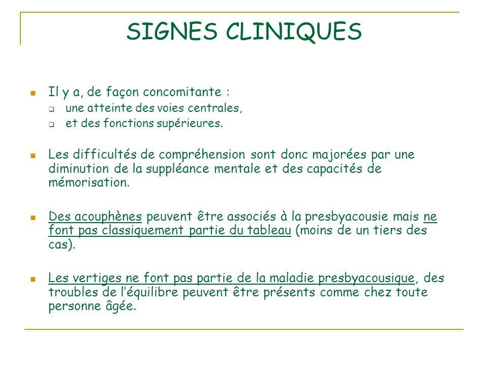SIGNES CLINIQUES Il y a, de façon concomitante : une atteinte des voies centrales, et des fonctions supérieures.