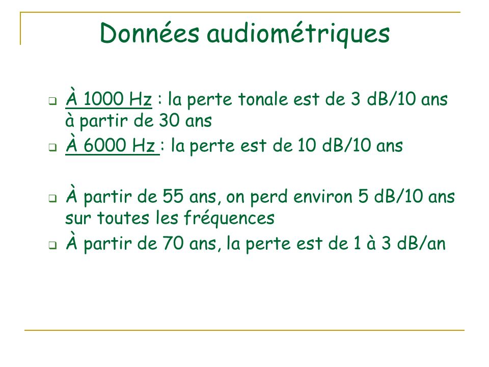 Données audiométriques À 1000 Hz : la perte tonale est de 3 dB/10 ans à partir de 30 ans À 6000 Hz : la perte est de 10 dB/10 ans À partir de 55 ans, on perd environ 5 dB/10 ans sur toutes les fréquences À partir de 70 ans, la perte est de 1 à 3 dB/an