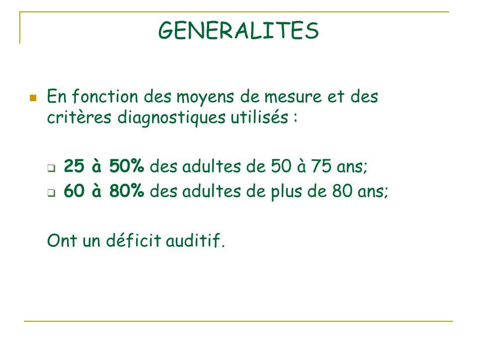 GENERALITES En fonction des moyens de mesure et des critères diagnostiques utilisés : 25 à 50% des adultes de 50 à 75 ans; 60 à 80% des adultes de plus de 80 ans; Ont un déficit auditif.