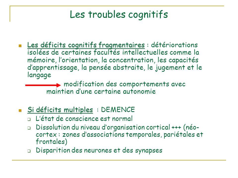 Les troubles cognitifs Les déficits cognitifs fragmentaires Les déficits cognitifs fragmentaires : détériorations isolées de certaines facultés intellectuelles comme la mémoire, lorientation, la concentration, les capacités dapprentissage, la pensée abstraite, le jugement et le langage modification des comportements avec maintien dune certaine autonomie Si déficits multiples Si déficits multiples : DEMENCE Létat de conscience est normal Dissolution du niveau dorganisation cortical +++ (néo- cortex : zones dassociations temporales, pariétales et frontales) Disparition des neurones et des synapses