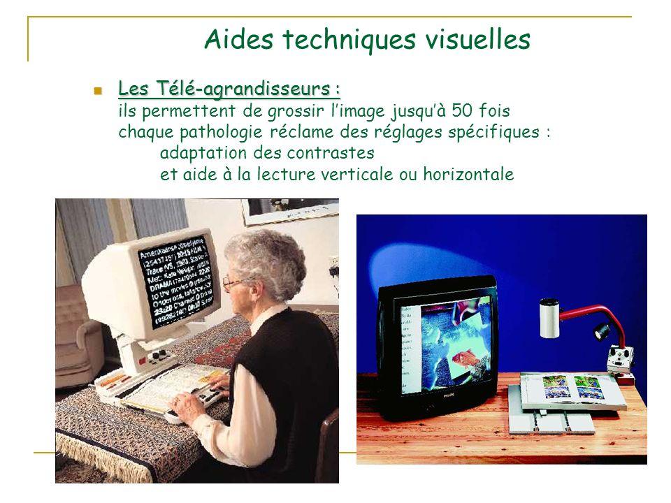 Aides techniques visuelles Les Télé-agrandisseurs : Les Télé-agrandisseurs : ils permettent de grossir limage jusquà 50 fois chaque pathologie réclame des réglages spécifiques : adaptation des contrastes et aide à la lecture verticale ou horizontale