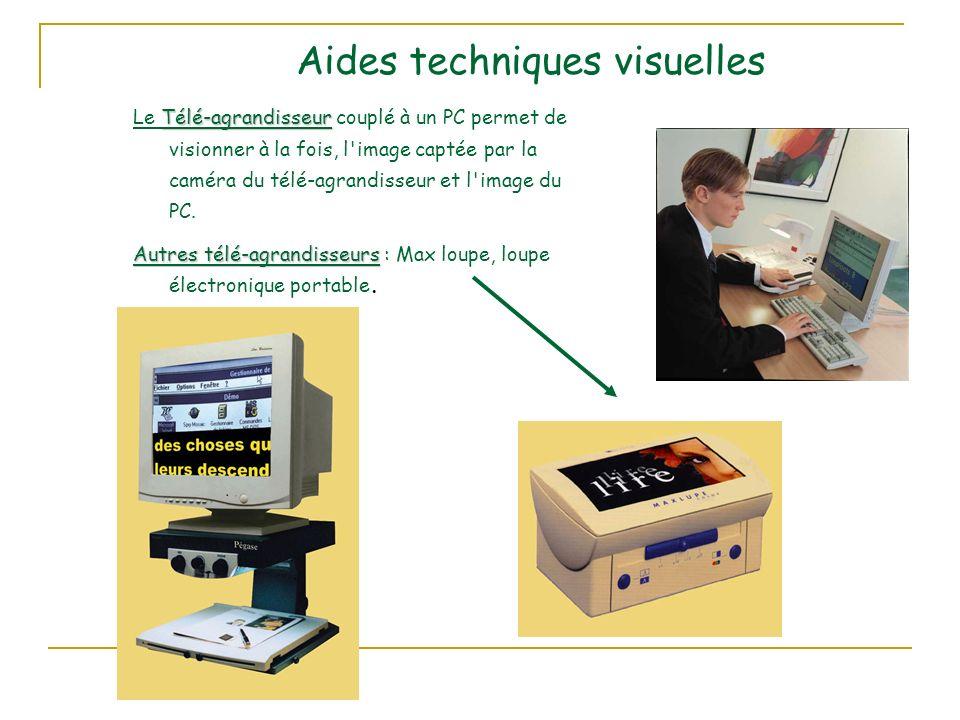 Aides techniques visuelles Télé-agrandisseur Le Télé-agrandisseur couplé à un PC permet de visionner à la fois, l image captée par la caméra du télé-agrandisseur et l image du PC.