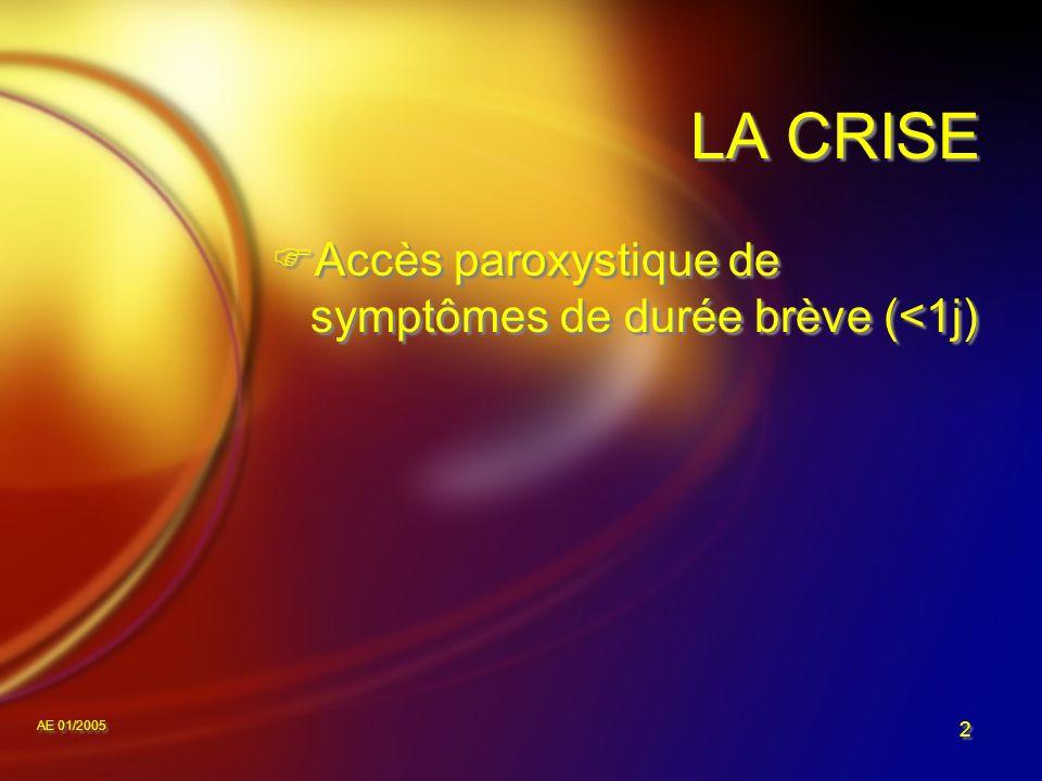 AE 01/2005 2 LA CRISE Accès paroxystique de symptômes de durée brève (<1j)