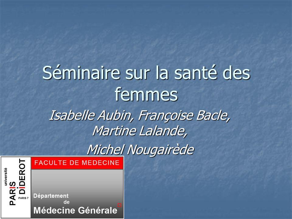 séminaire femme novembre 2008 DMG Paris 72 EPIDEMIOLOGIE Pathologie génito-urinaire : 7% des motifs de consultation (CREDES 1994) Pathologie génito-urinaire : 7% des motifs de consultation (CREDES 1994) Contraception : 3,63% des résultats de consultation (SFMG : 2003) Contraception : 3,63% des résultats de consultation (SFMG : 2003) Chiffres à revoir à la hausse : baisse de la démographie des gynécologues médicaux Chiffres à revoir à la hausse : baisse de la démographie des gynécologues médicaux Implication nécessaire des médecins généralistes Implication nécessaire des médecins généralistes