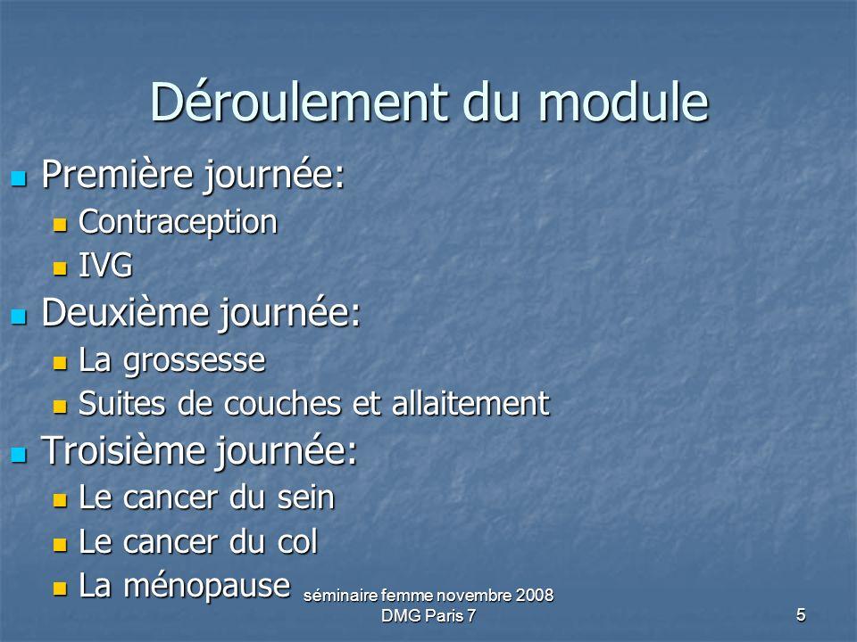 séminaire femme novembre 2008 DMG Paris 75 Déroulement du module Première journée: Première journée: Contraception Contraception IVG IVG Deuxième jour