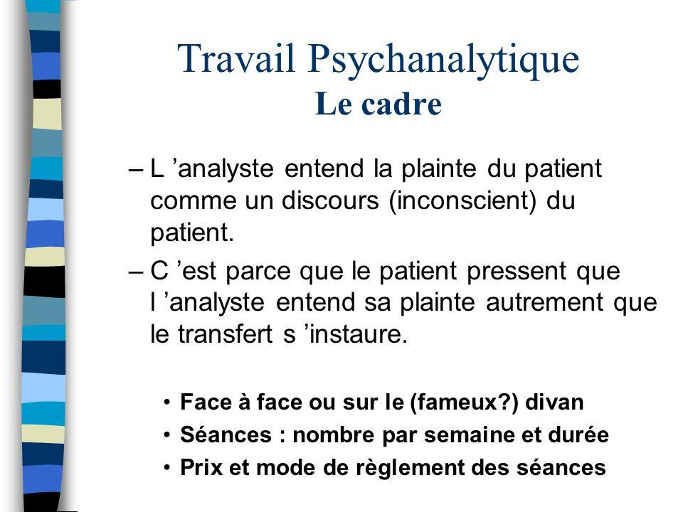 Travail Psychanalytique Le cadre –L analyste entend la plainte du patient comme un discours (inconscient) du patient. –C est parce que le patient pres