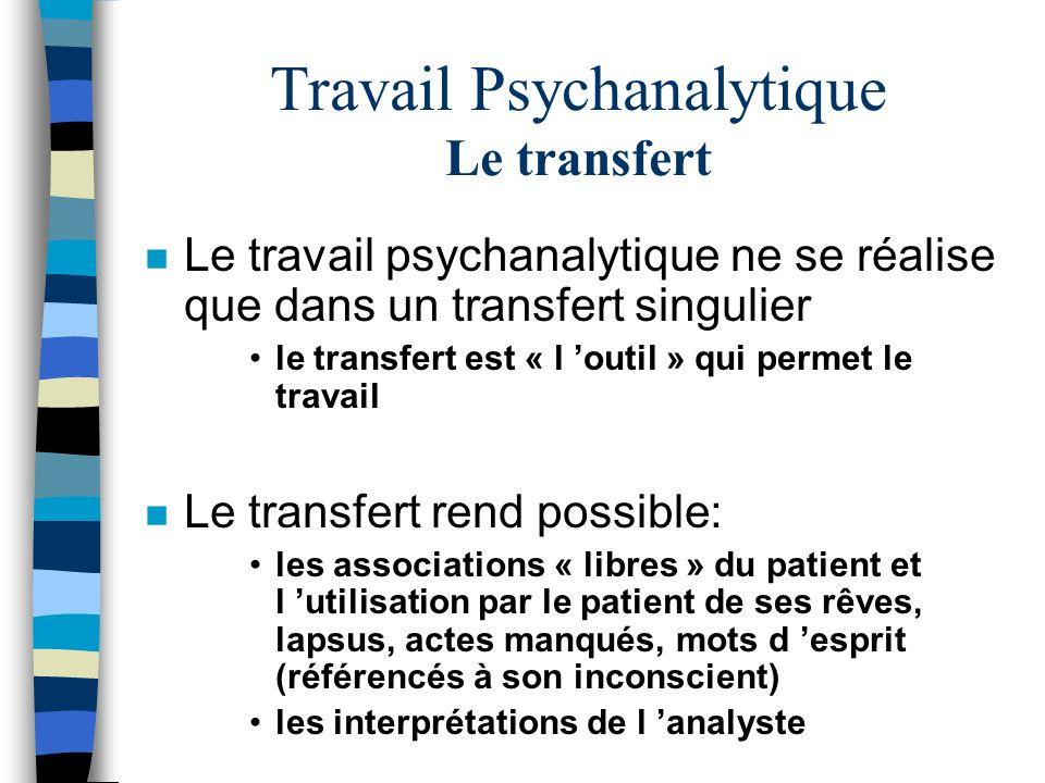 Travail Psychanalytique Le transfert n Le travail psychanalytique ne se réalise que dans un transfert singulier le transfert est « l outil » qui perme