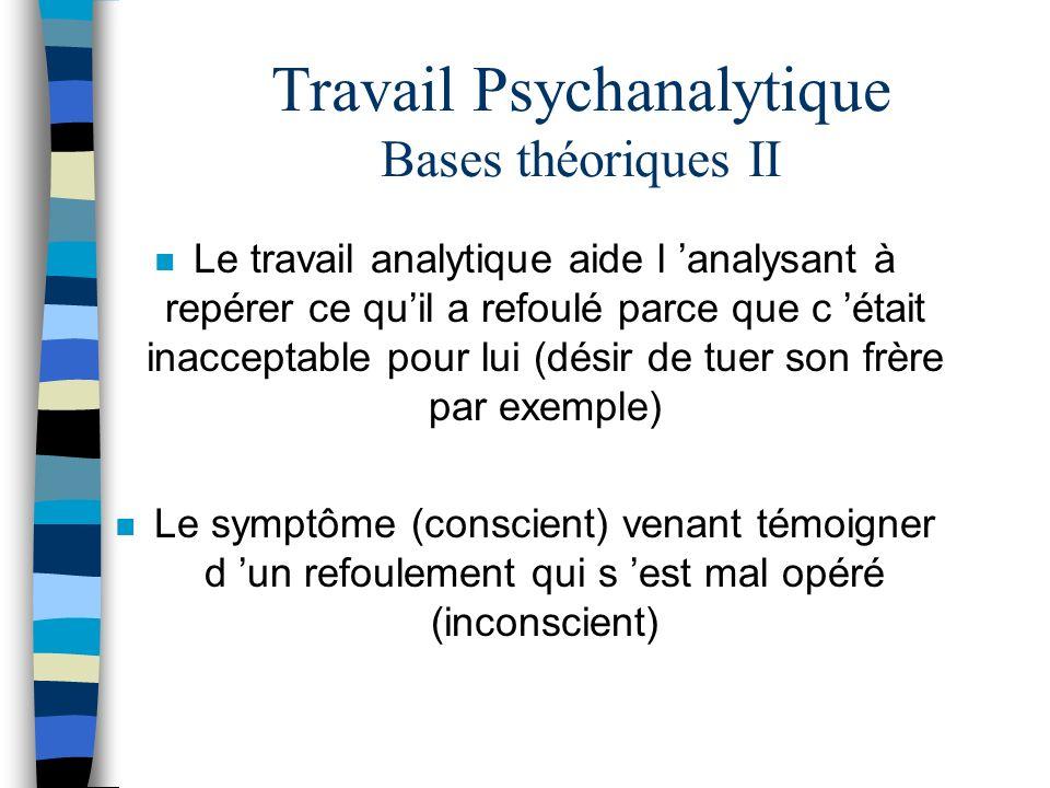 Travail Psychanalytique Bases théoriques II n Le travail analytique aide l analysant à repérer ce quil a refoulé parce que c était inacceptable pour l
