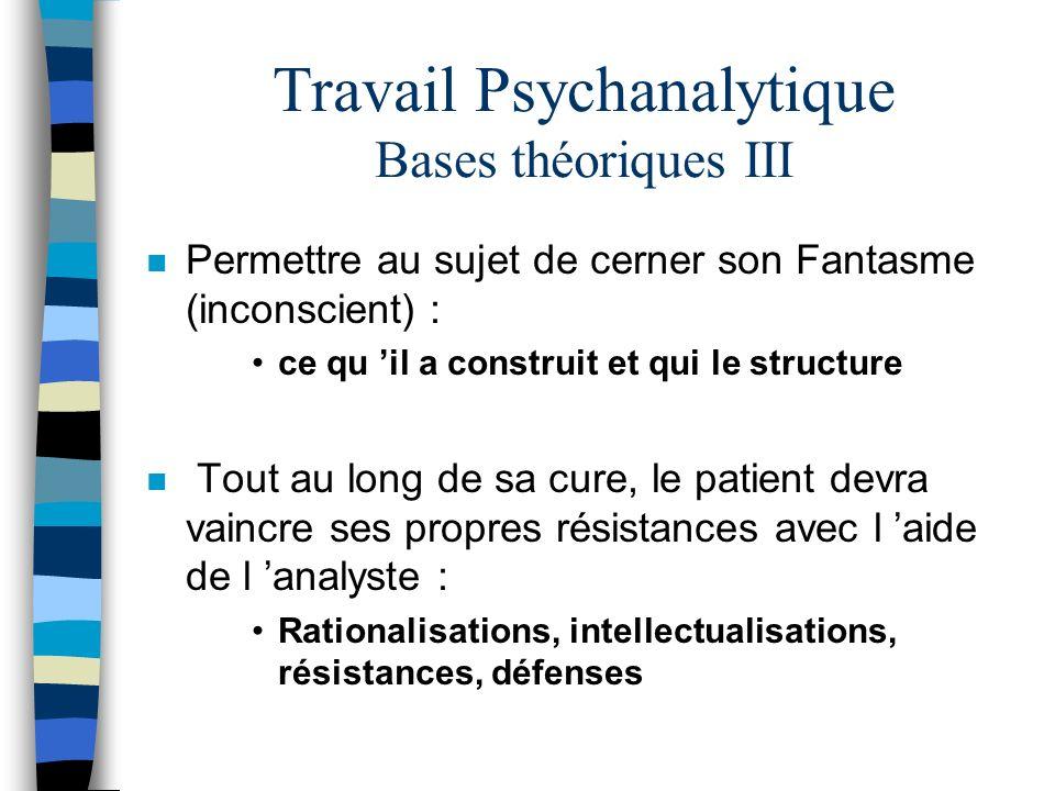Travail Psychanalytique Bases théoriques III n Permettre au sujet de cerner son Fantasme (inconscient) : ce qu il a construit et qui le structure n To