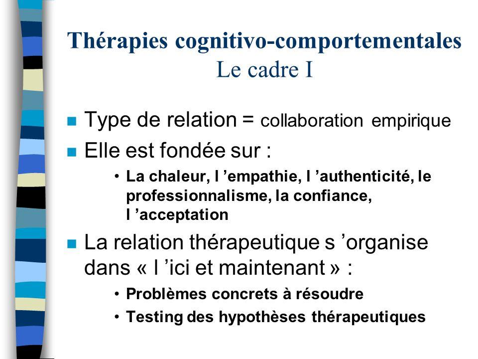 Thérapies cognitivo-comportementales Le cadre I n Type de relation = collaboration empirique n Elle est fondée sur : La chaleur, l empathie, l authent