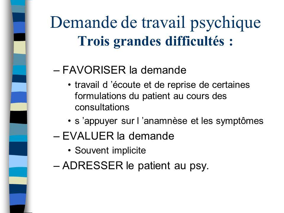 Demande de travail psychique Trois grandes difficultés : –FAVORISER la demande travail d écoute et de reprise de certaines formulations du patient au