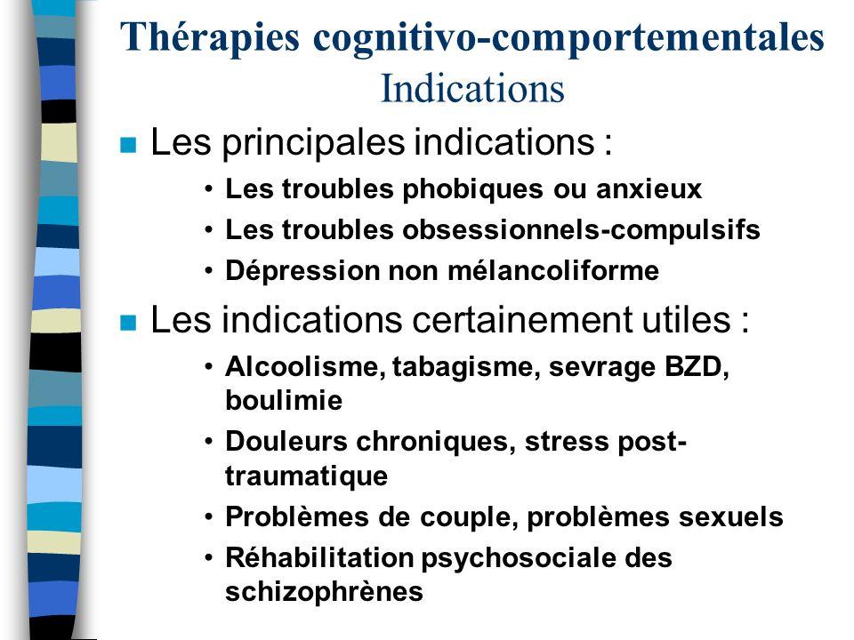 Thérapies cognitivo-comportementales Indications n Les principales indications : Les troubles phobiques ou anxieux Les troubles obsessionnels-compulsi