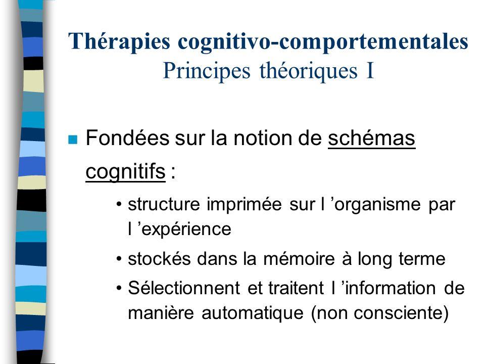 Thérapies cognitivo-comportementales Principes théoriques I n Fondées sur la notion de schémas cognitifs : structure imprimée sur l organisme par l ex