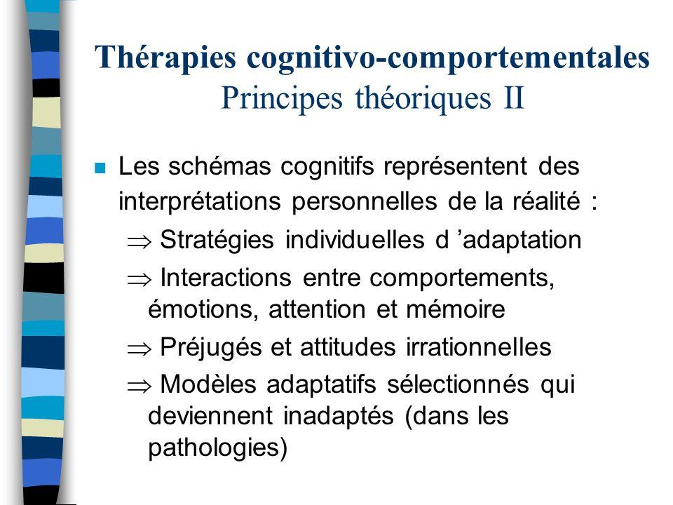 Thérapies cognitivo-comportementales Principes théoriques II n Les schémas cognitifs représentent des interprétations personnelles de la réalité : Str