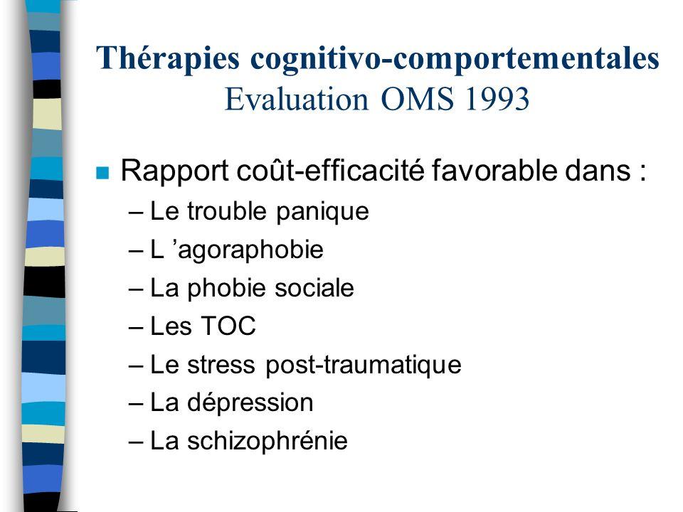 Thérapies cognitivo-comportementales Evaluation OMS 1993 n Rapport coût-efficacité favorable dans : –Le trouble panique –L agoraphobie –La phobie soci