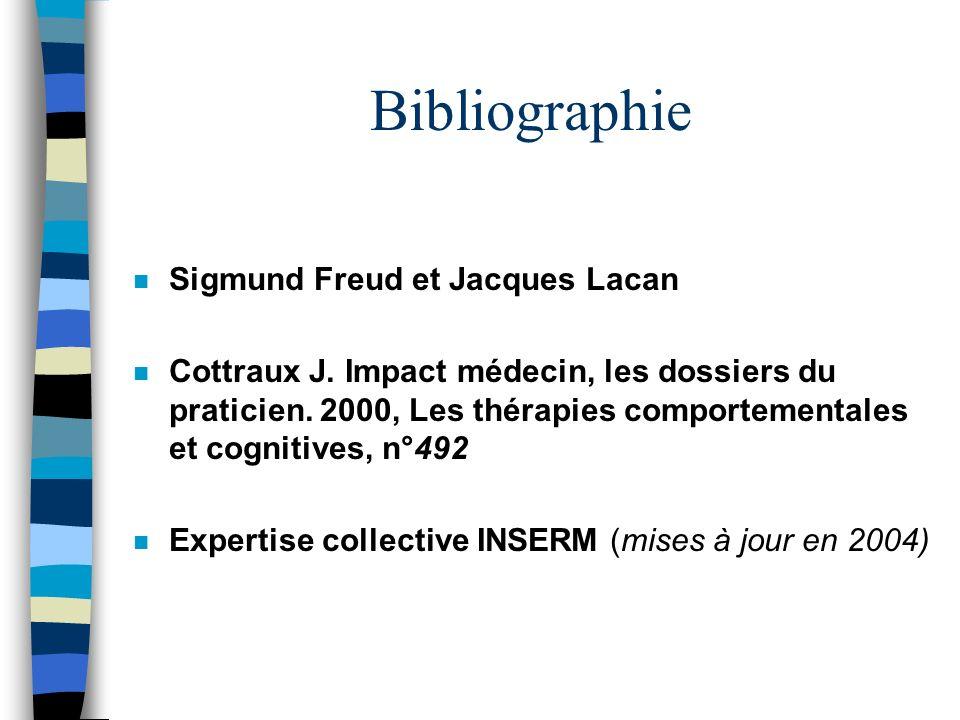 Bibliographie n Sigmund Freud et Jacques Lacan n Cottraux J. Impact médecin, les dossiers du praticien. 2000, Les thérapies comportementales et cognit