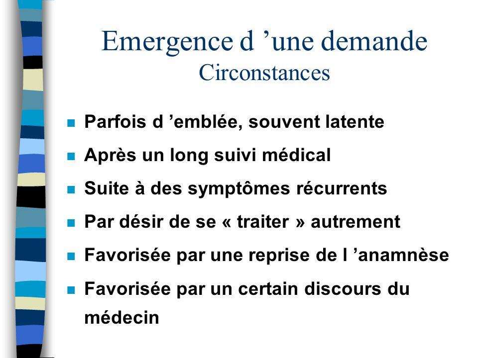 Emergence d une demande Circonstances n Parfois d emblée, souvent latente n Après un long suivi médical n Suite à des symptômes récurrents n Par désir