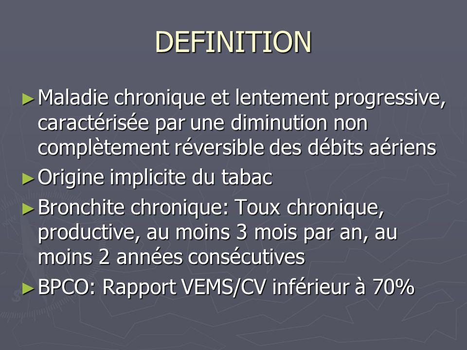 DEFINITION Maladie chronique et lentement progressive, caractérisée par une diminution non complètement réversible des débits aériens Maladie chroniqu