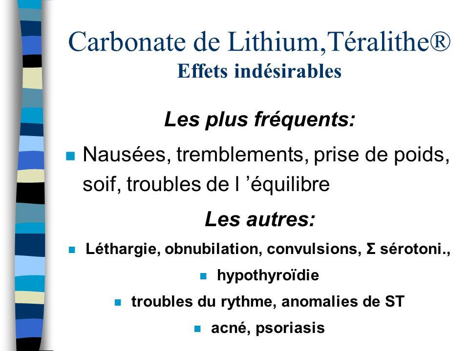 Carbonate de Lithium,Téralithe® Effets indésirables Les plus fréquents: n Nausées, tremblements, prise de poids, soif, troubles de l équilibre Les aut
