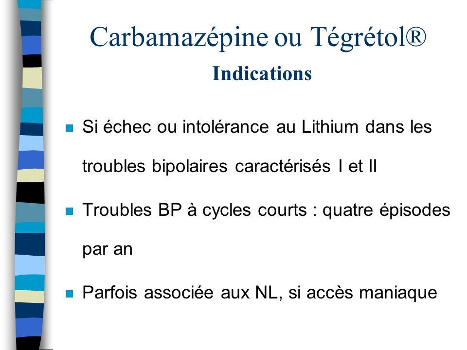 Carbamazépine ou Tégrétol® Indications n Si échec ou intolérance au Lithium dans les troubles bipolaires caractérisés I et II n Troubles BP à cycles c