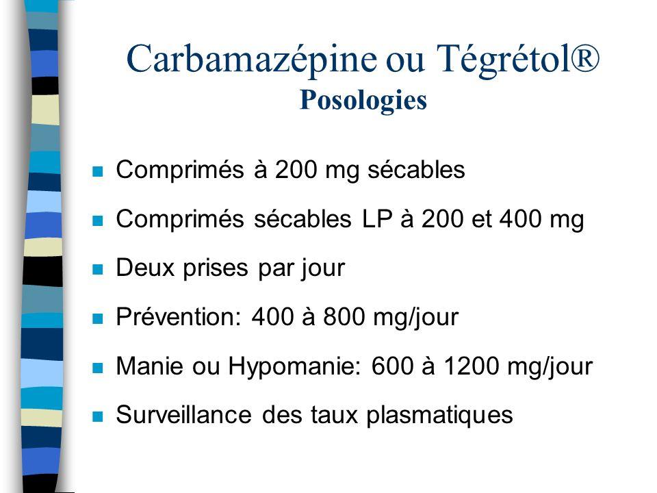 Carbamazépine ou Tégrétol® Posologies n Comprimés à 200 mg sécables n Comprimés sécables LP à 200 et 400 mg n Deux prises par jour n Prévention: 400 à