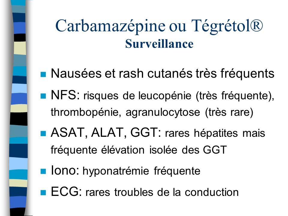 Carbamazépine ou Tégrétol® Surveillance n Nausées et rash cutanés très fréquents n NFS: risques de leucopénie (très fréquente), thrombopénie, agranulo