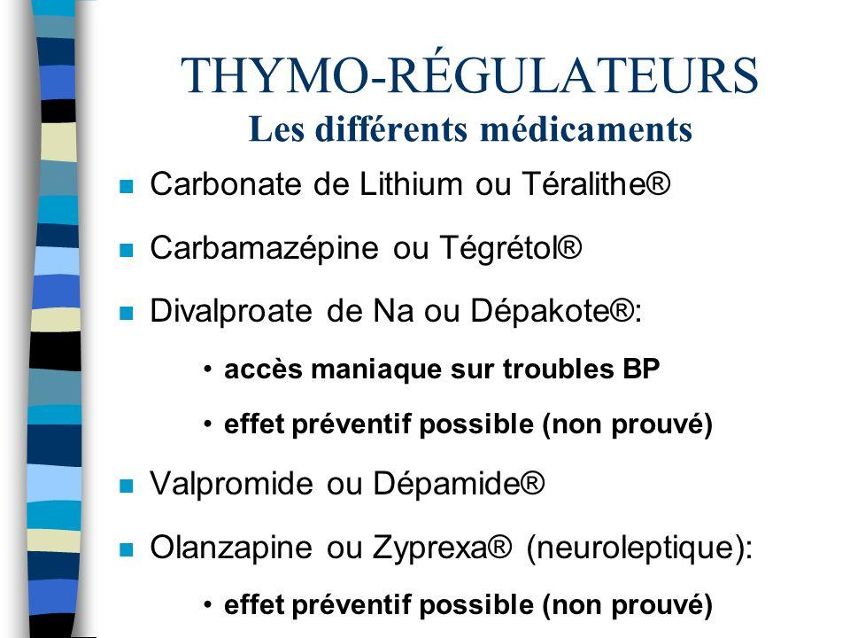 THYMO-RÉGULATEURS Les différents médicaments n Carbonate de Lithium ou Téralithe® n Carbamazépine ou Tégrétol® n Divalproate de Na ou Dépakote®: accès