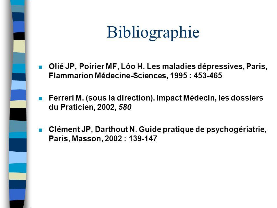 Bibliographie n Olié JP, Poirier MF, Lôo H. Les maladies dépressives, Paris, Flammarion Médecine-Sciences, 1995 : 453-465 n Ferreri M. (sous la direct