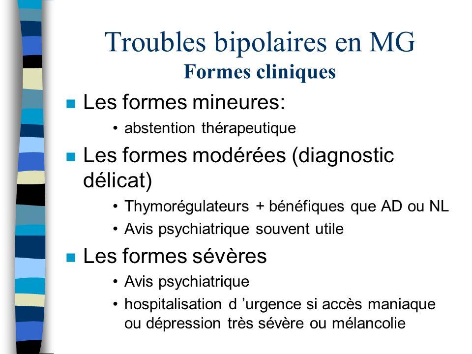 Troubles bipolaires en MG Formes cliniques n Les formes mineures: abstention thérapeutique n Les formes modérées (diagnostic délicat) Thymorégulateurs